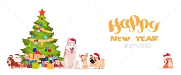 Christmas Tree and Dogs In Santa Hats - New Year Seasons/Holidays