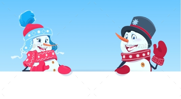 GraphicRiver Holiday Decoration Snowman Couple Holding Banner 21052050