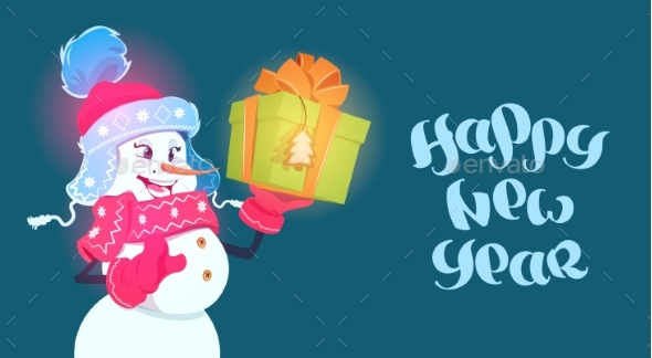Happy New Year Poster Snowman with Gift Box - New Year Seasons/Holidays