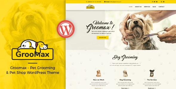 Groomax - Pet Grooming & Shop WordPress Theme - Corporate WordPress