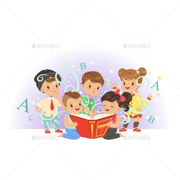 Preschool Kids Reading - People Characters