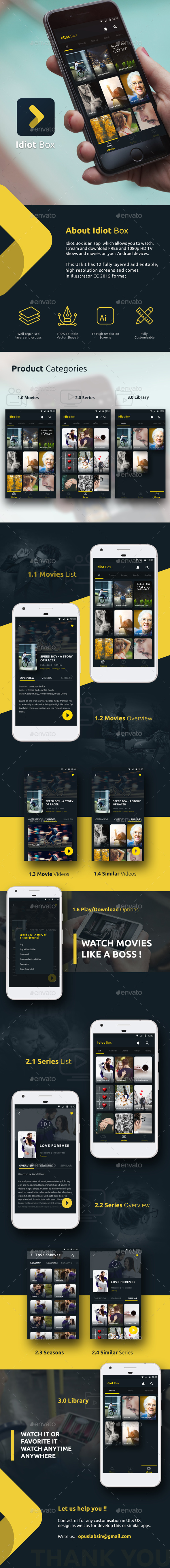 Online Movie / Video Streaming App   Idiot Box - User Interfaces Web Elements