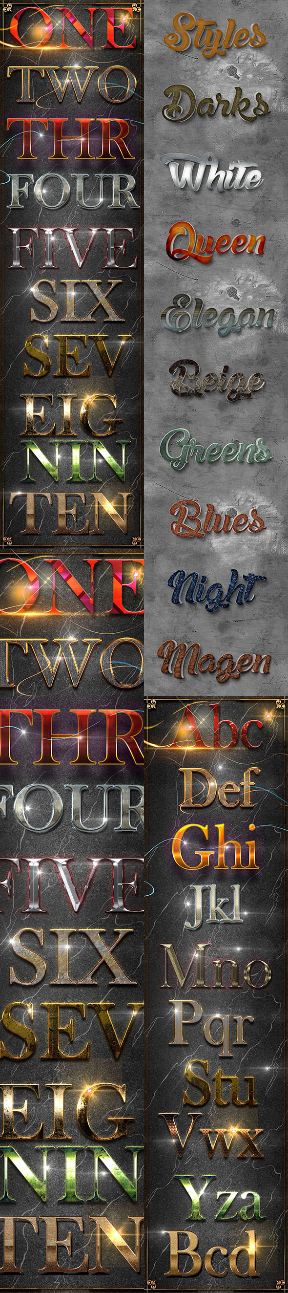 30 Bundle 3D Text Styles D35-D37 - Styles Photoshop