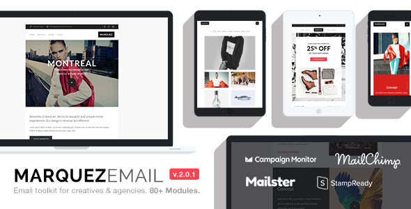 Image of Marquez - Multipurpose Responsive Email: 80+ Sections + StampReady Builder + MailChimp + Mailster