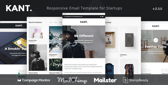 Kant - Responsive Email for Startups with 50+ Sections + StampReady Builder + MailChimp + Mailster