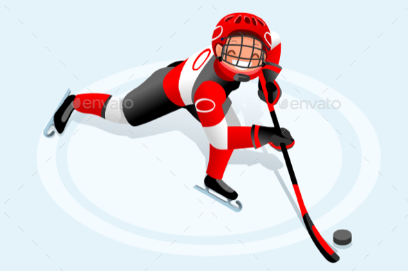 Hockey Vector Cartoon Boy Poster - Vectors