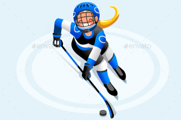 Hockey Vector Cartoon Girl Poster - Vectors
