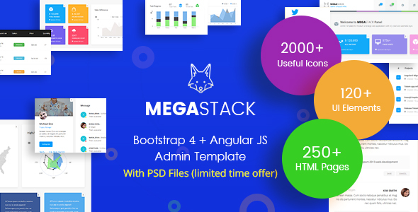 MegaStack - Bootstrap 4 & Angular JS Admin Dashboard Template and UI Framework