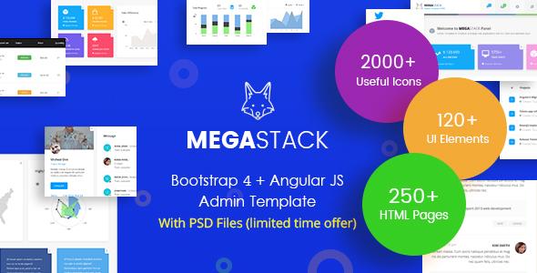 MegaStack - Bootstrap 4 & Angular JS Admin Dashboard Template and UI Framework - Admin Templates Site Templates