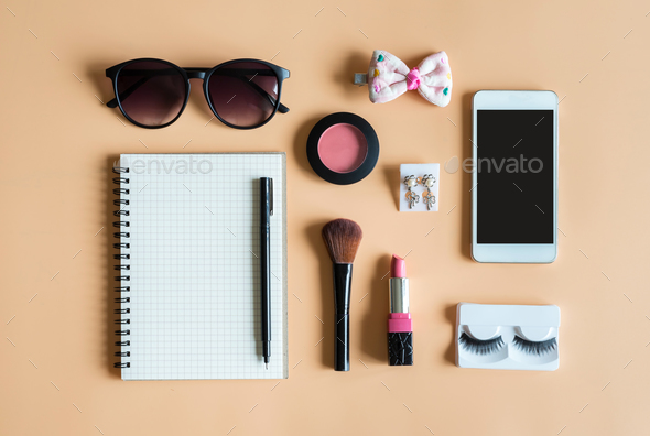 Blank notebook with Various makeup products - Stock Photo - Images