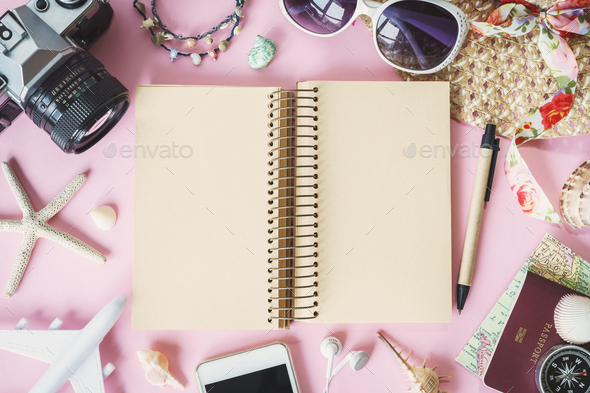 Outfit of traveler on pink background with copy space - Stock Photo - Images