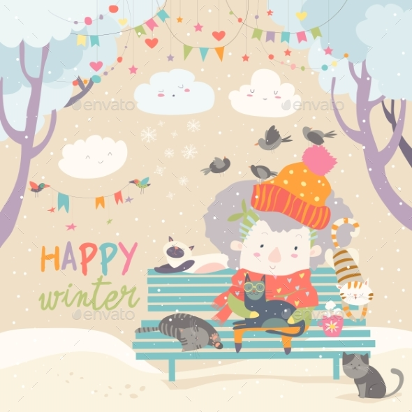 GraphicRiver Cute Old Woman with Kitten and Bird in Winter Park 21052838