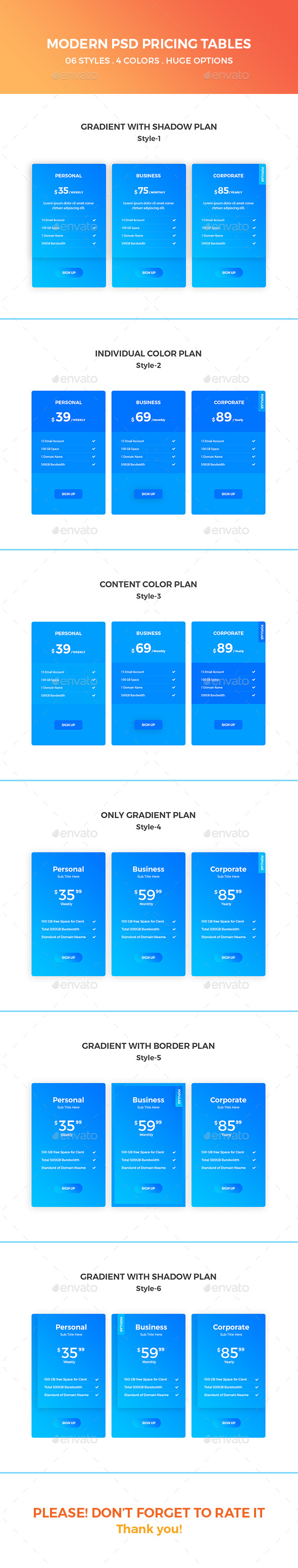 Modern PSD Pricing Tables - Tables Web Elements