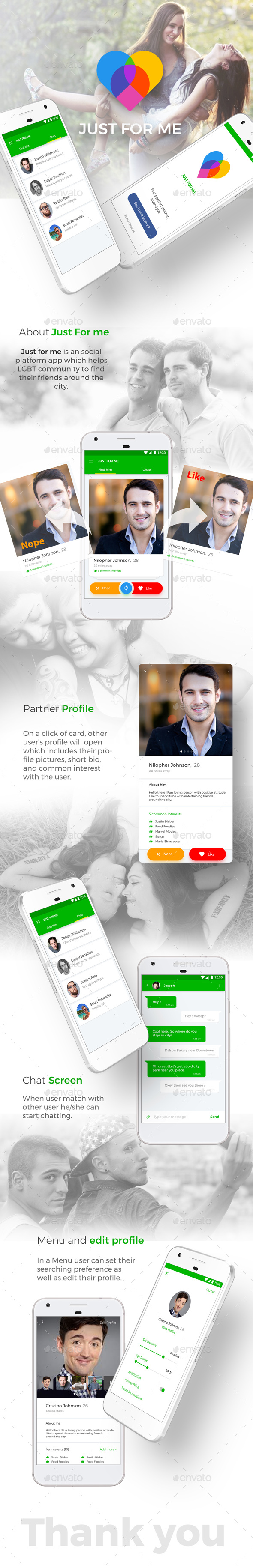 Dating App UI Kit like Tinder | Just For Me for Android + iOS - User Interfaces Web Elements