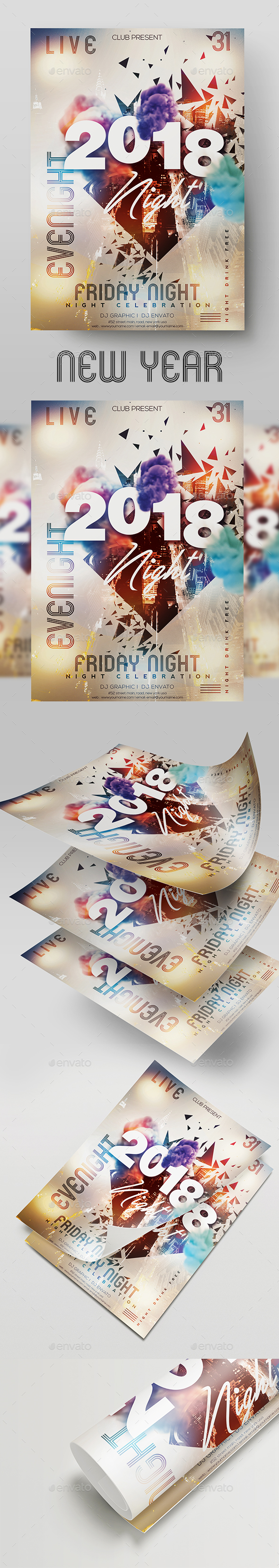 GraphicRiver New Year Party Flyer 21053324