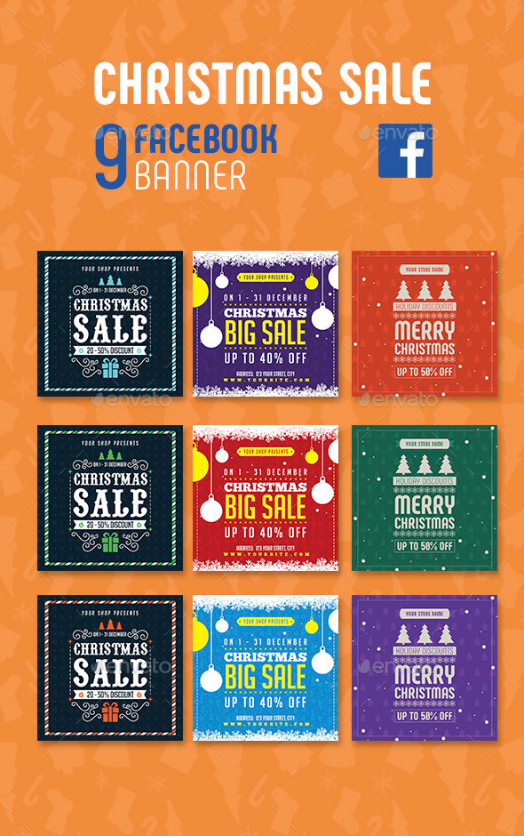 GraphicRiver Christmas Sale Facebook Banners 21053325