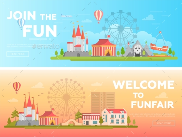 GraphicRiver Amusement Park Set of Modern Flat Vector 21053361