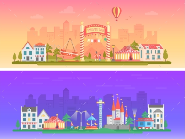 Day, Night Amusement Park - Set of Modern Flat - Web Elements Vectors