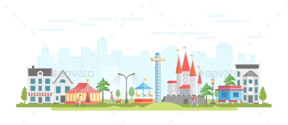 GraphicRiver City with Amusement Park Modern Flat Design 21053375