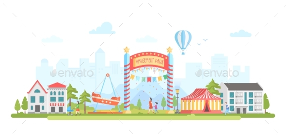 GraphicRiver Amusement Park Modern Flat Design Style Vector 21053378
