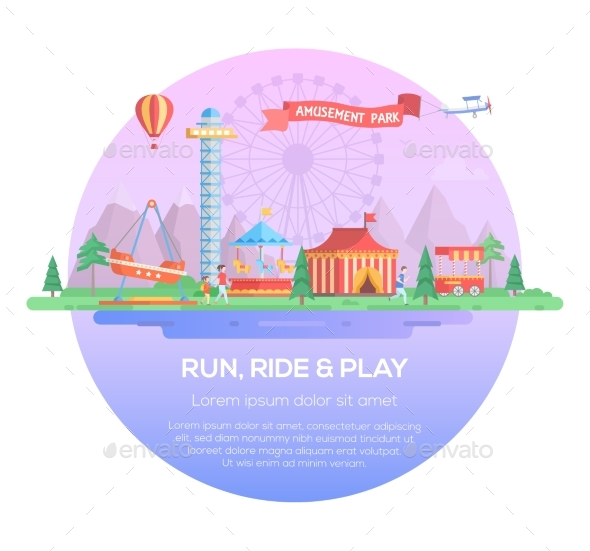 Run, Ride and Play - Modern Vector Illustration - Web Elements Vectors