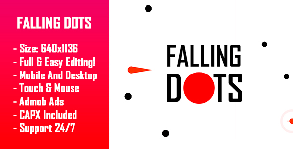 CodeCanyon Falling Dots HTML5 Game & Mobile Version Construct-2 CAPX 21053392