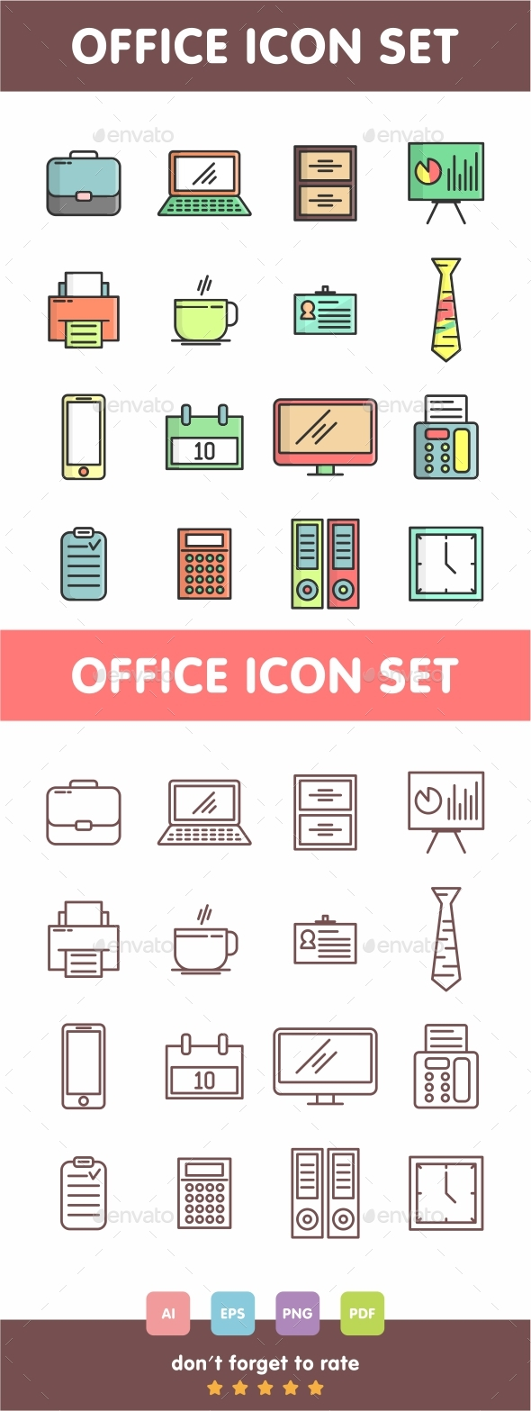GraphicRiver Office Icon Set Line Art Vector 21053391