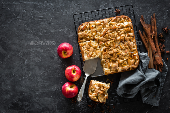 Apple pie with cinnamon, top view - Stock Photo - Images