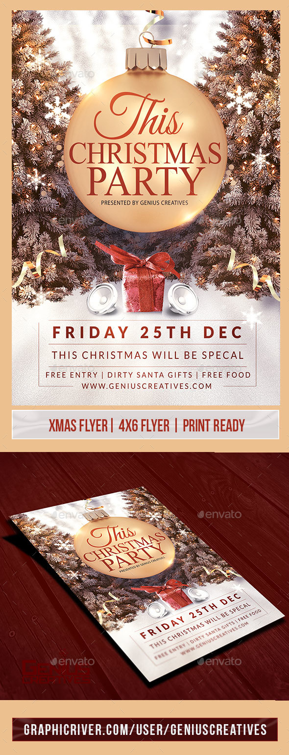 This Christmas Party Flyer Template V2 - Holidays Events