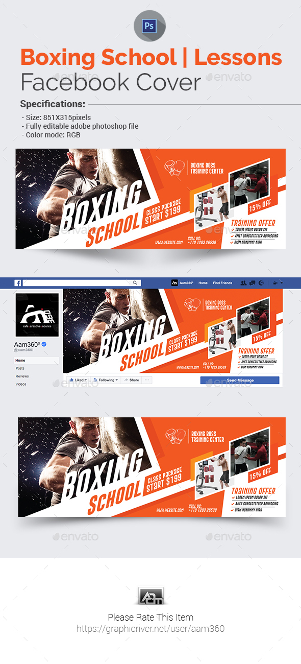 GraphicRiver Boxing School Facebook Cover Template 21053551