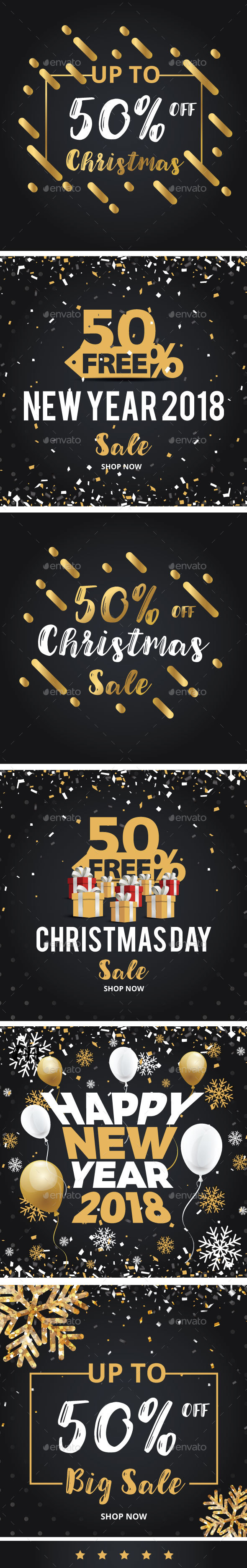 Happy Christmas and New Year Discount Sale Banners - Social Media Web Elements