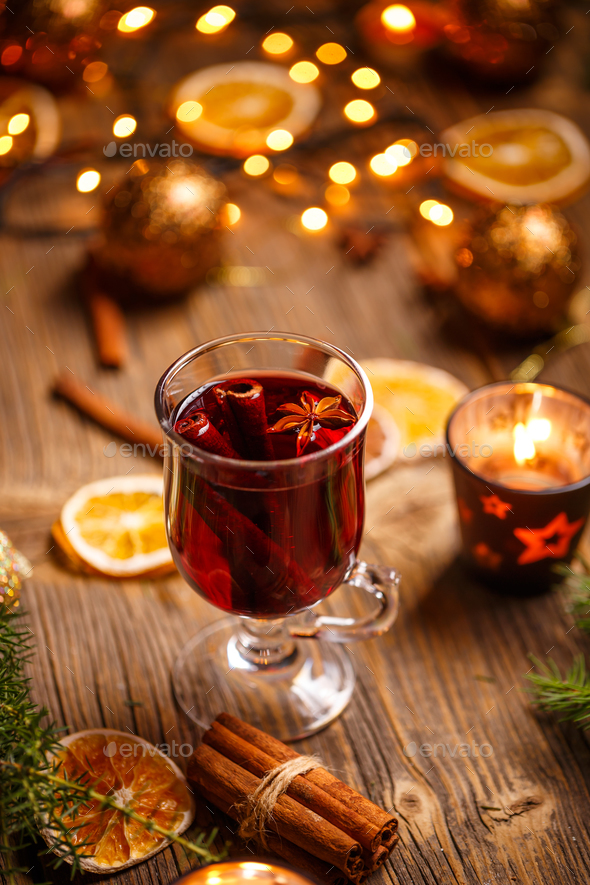 Glass with mulled wine - Stock Photo - Images