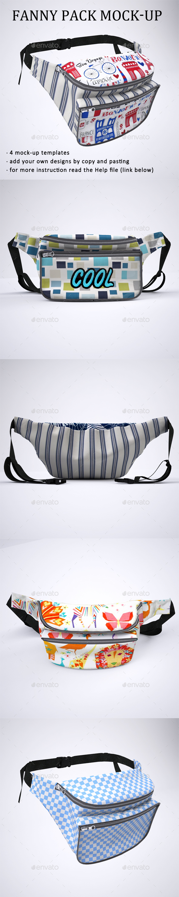 Fanny Pack or Bum Bag Mock-Up - Product Mock-Ups Graphics