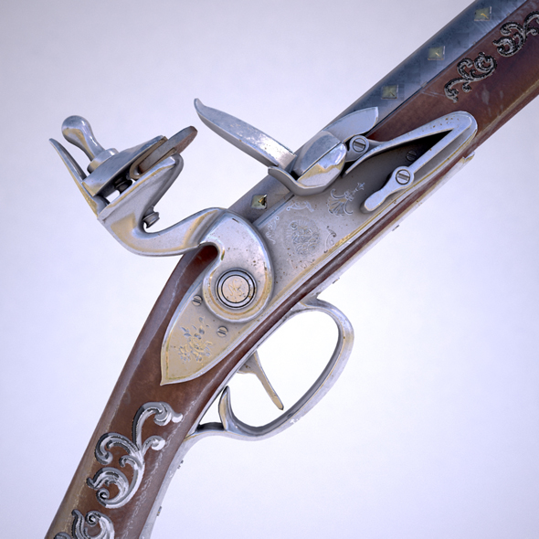 Flintlock musket - 3DOcean Item for Sale
