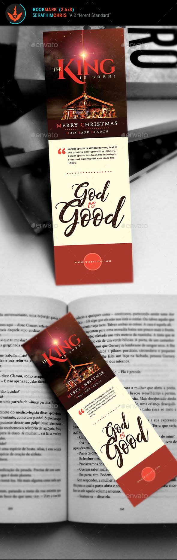 GraphicRiver The King is Born Christmas Bookmark Template 21054617