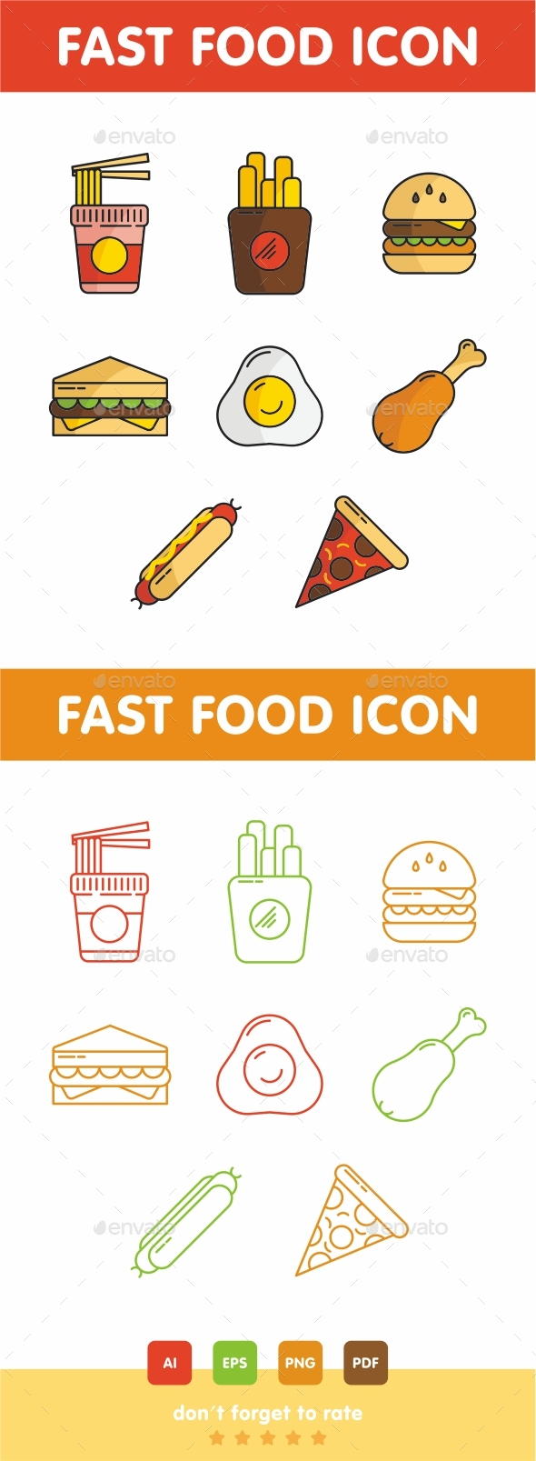 GraphicRiver Fast Food Icon Set 21055009