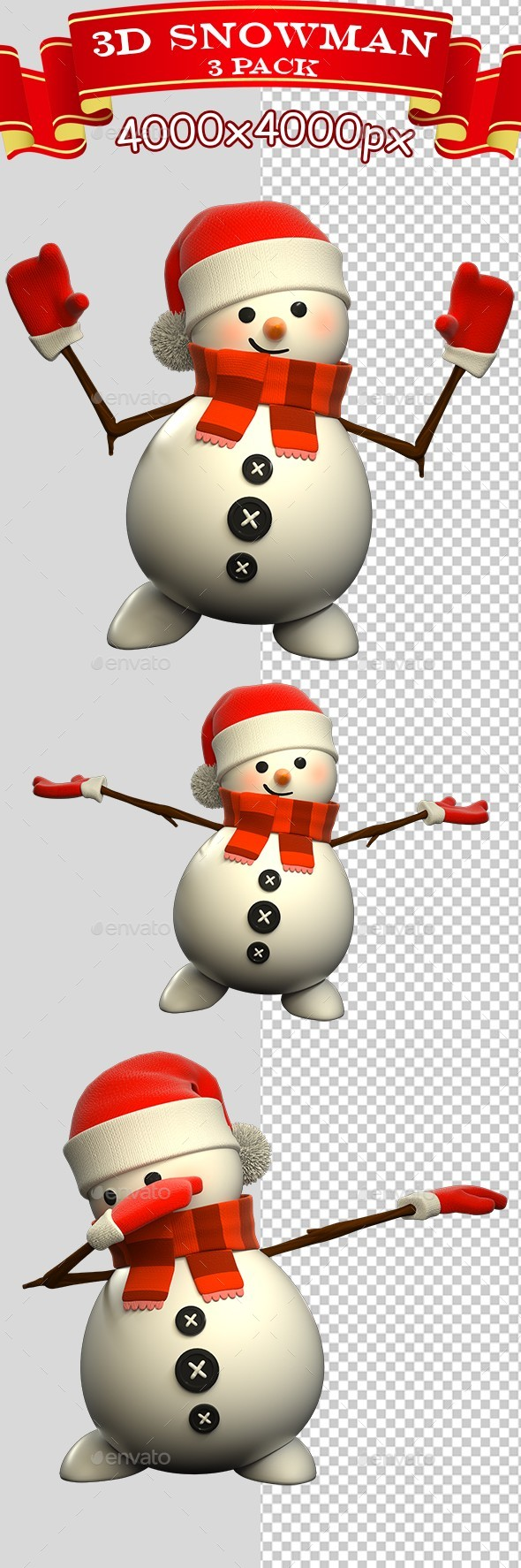 3D Snowman Standing - 3 Pack - Characters 3D Renders