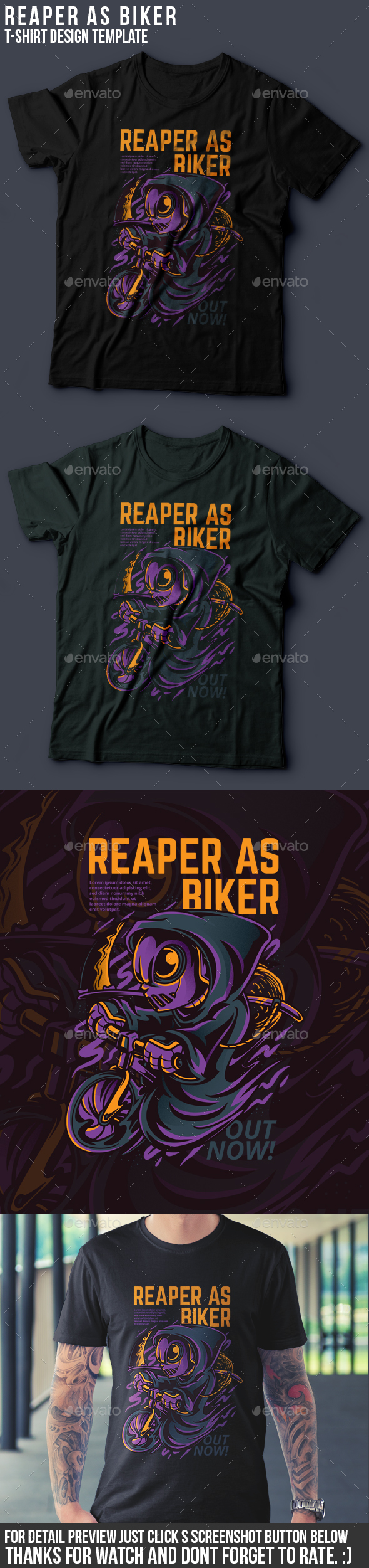 Reaper As Biker T-Shirt Design