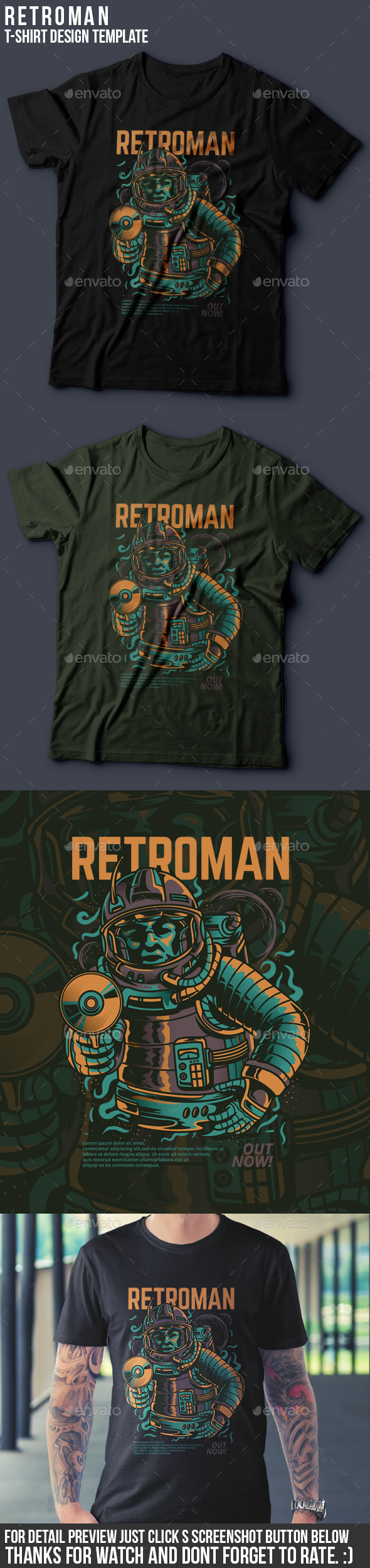 Retroman T-Shirt Design - Grunge Designs