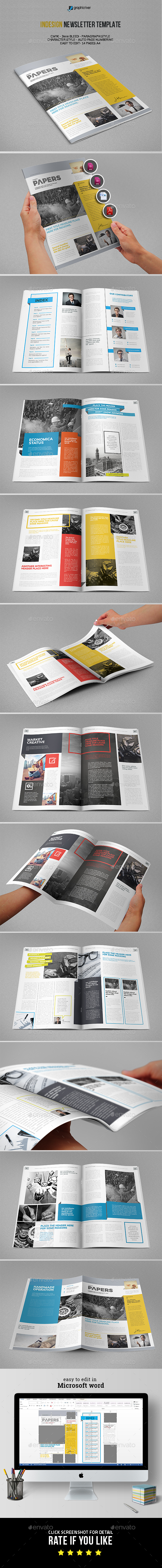 Papers Newsletter Template - Newsletters Print Templates