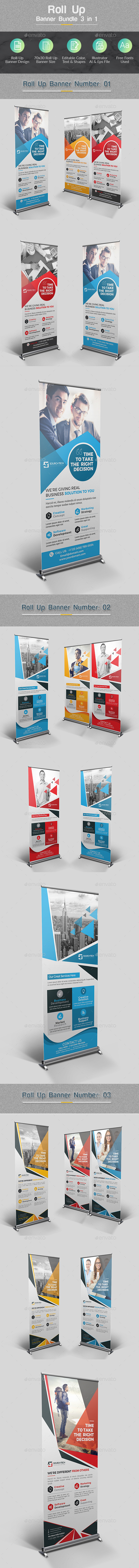 Roll Up Banner Bundle 3 in 1 - Signage Print Templates