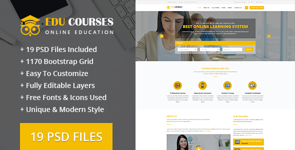 Edu-Courses Online Education PSD Template