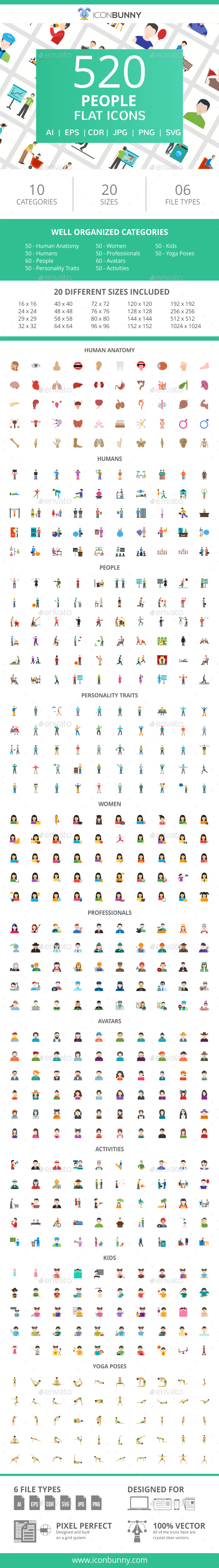 GraphicRiver 520 People Flat Icons 21055601