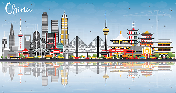 GraphicRiver China City Skyline with Reflections 21055628