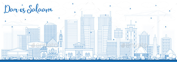 GraphicRiver Outline Dar Es Salaam Tanzania Skyline with Blue Buildings 21055631
