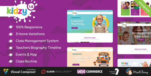 KIDZY - Responsive Kindergarten & Preschool WordPress Theme - Education WordPress