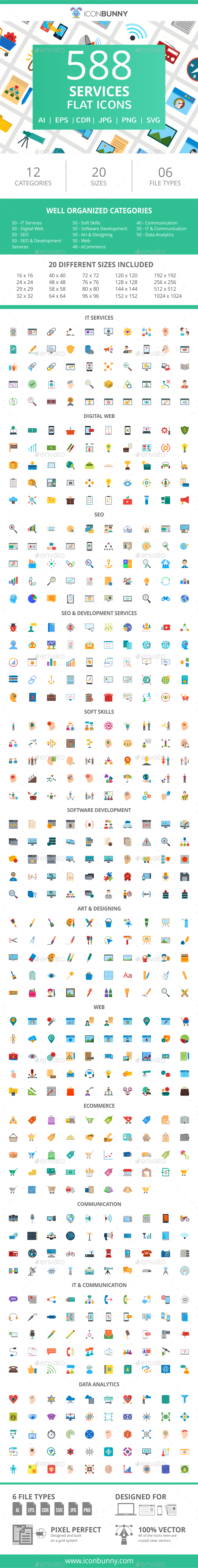 GraphicRiver 588 Services Flat Icons 21055638
