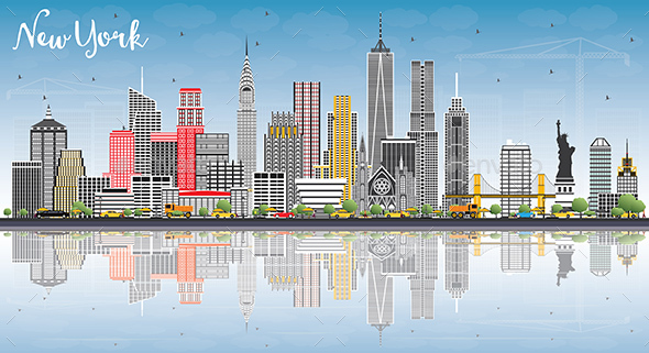 GraphicRiver New York USA Skyline with Gray Buildings 21055669