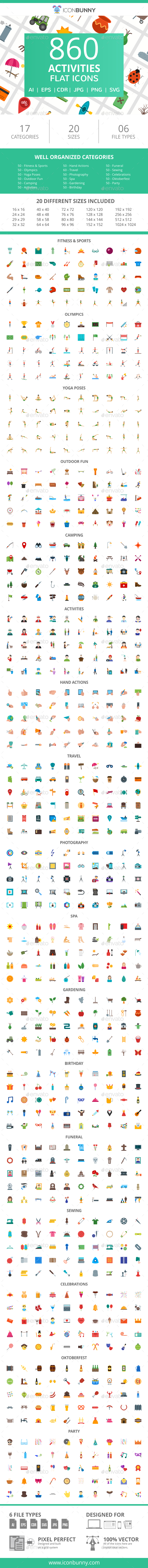 GraphicRiver 860 Activities Flat Icons 21055678