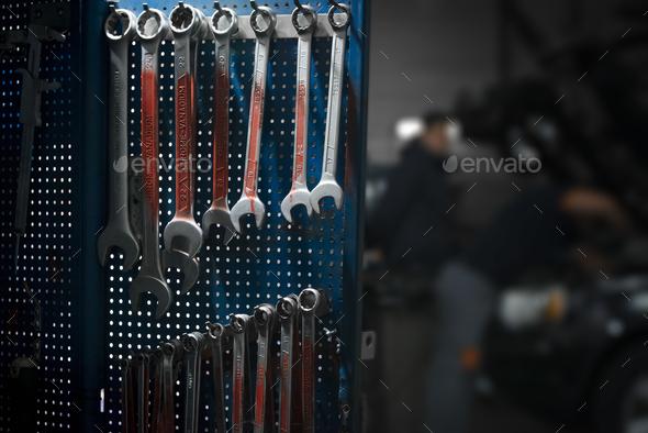 Car repair equipment in the tool box in car repair shop - Stock Photo - Images